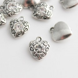 12mm Heart Charm with Clear Rhinestone - Pack of 1