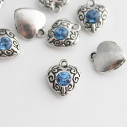 12mm Heart Charm with Pale Blue Rhinestone - Pack of 1