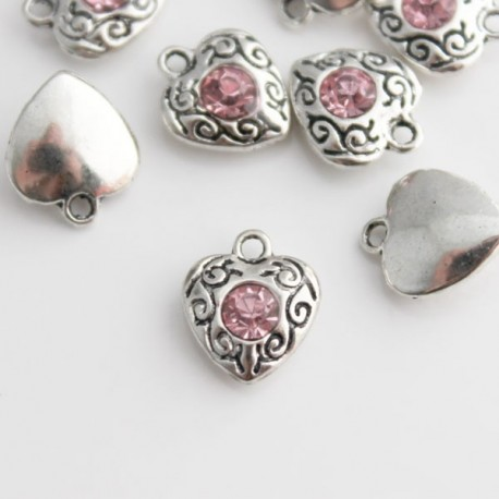 Heart Charm with Pink Rhinestone