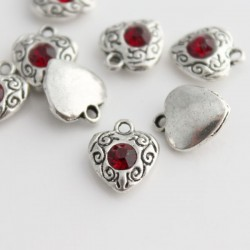 12mm Heart Charm with Red Rhinestone - Pack of 1