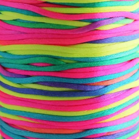 2mm Satin Rattail Cord - Bright Multi Coloured