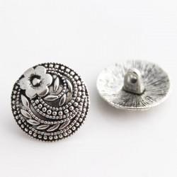 17mm Flower Pattern Shank Buttons - Silver Tone