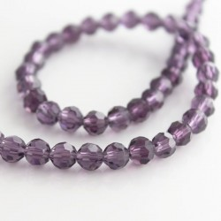 6mm Faceted Round Crystal Glass Beads - Amethyst