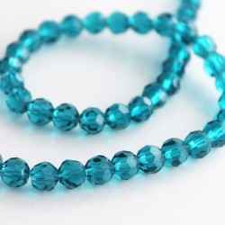6mm Faceted Round Crystal Glass Beads - Teal