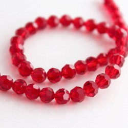 6mm Faceted Round Crystal Glass Beads - Deep Red