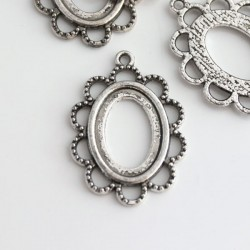 Antique Silver Tone Cabochon Setting