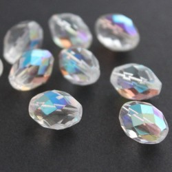 Oval Fire Polished Czech Glass Beads - Crystal AB