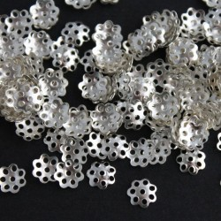 Silver Plated 6mm Bead Cap - Flower - 5g