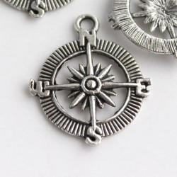 Antique Silver Tone Compass Charm