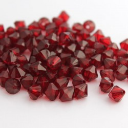 8mm Acrylic Bicone Beads - Deep Red