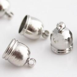 8.5mm Cord End Caps - Silver Tone
