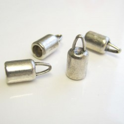 4mm Cord End Caps - Antique Silver Tone