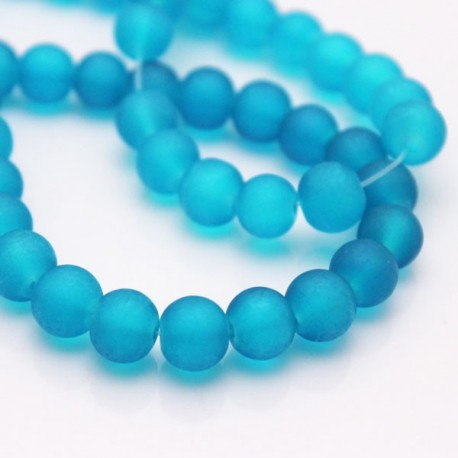 8mm Frosted Glass Beads - Dark Aqua