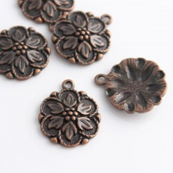 Copper Tone Flower Charm - 21mm