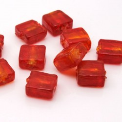 12mm Silver Foil Square Glass Beads - Red