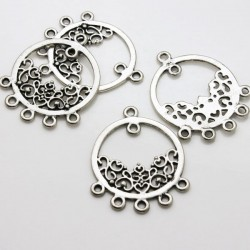 37mm Silver Tone Ornate Pendant Connector - Pack of 4