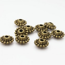 11mm Bronze Tone Ornate Bicone Beads
