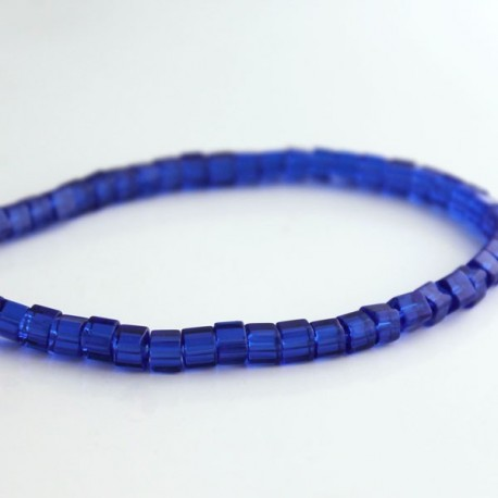 4mm Polished Glass Cube Beads - Cobalt Blue