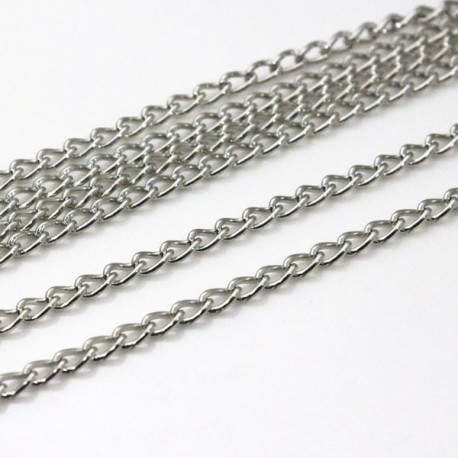Silver Tone Curb Chain 4.5mm x 3mm