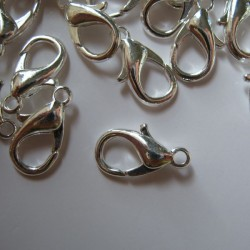 14mm Lobster Clasp - Silver Plated - Pack of 10