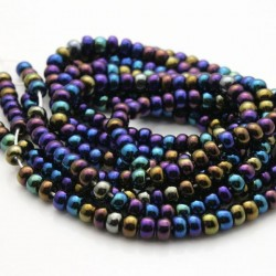 Czech Seed Beads Size 6/0 - Opaque Jet AB