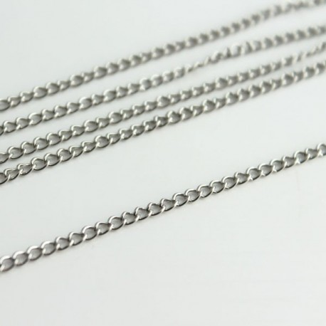 Silver Tone Curb Chain - 3.5mm x 2.5mm