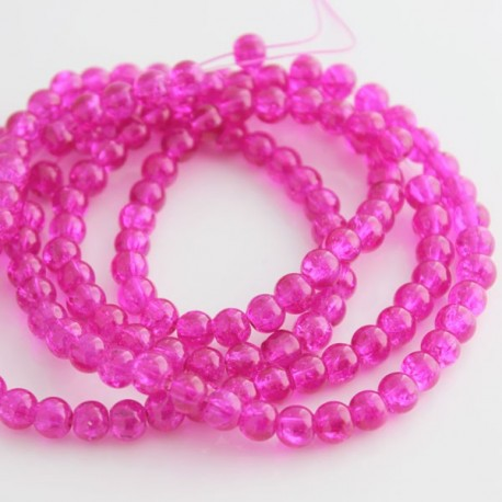6mm Fuchsia Pink Crackle Glass Beads (81cm strand)