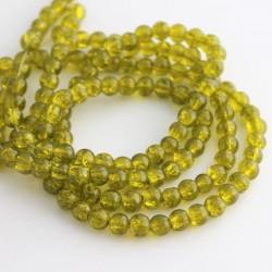 6mm Olive Green Crackle Glass Beads (81cm strand)