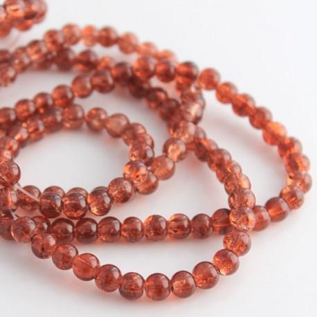 6mm Burnt Orange Crackle Glass Beads (81cm strand)