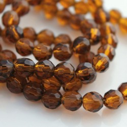6mm Round Faceted Glass Beads - Brown - Pack of 50
