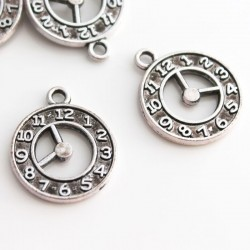 21mm Clock Charms - Antique Silver Tone