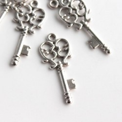 33mm Ornate Key Charm - Antique Silver Tone