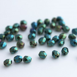 4mm Fire Polished Czech Glass Beads - Green Iris