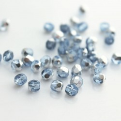4mm Fire Polished Czech Glass Beads - Light Sapphire Half Labrador