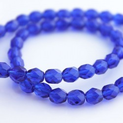 6mm Fire Polished Czech Glass Beads - Cobalt
