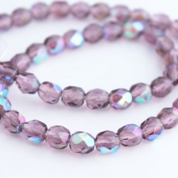 6mm Fire Polished Czech Glass Beads - Amethyst AB