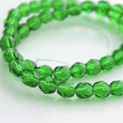 6mm Fire Polished Czech Glass Beads - Emerald