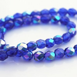 6mm Fire Polished Czech Glass Beads - Cobalt AB
