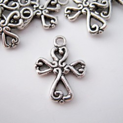 19mm Cross Charm - Antique Silver Tone