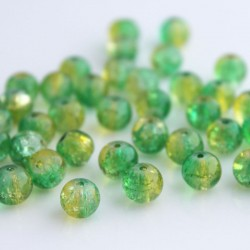 8mm Green and Yellow Crackle Beads - Pack of 50