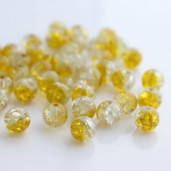 8mm Yellow and Clear Crackle Beads