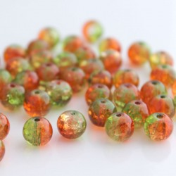 8mm Green and Orange Crackle Beads