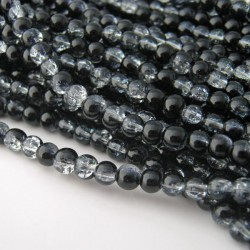 4mm Black and Clear Glass Crackle Beads