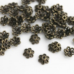 6mm Bead Cap - Bronze Tone Flower - Pack of 50