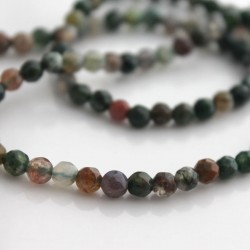 4mm Faceted Multicoloured Indian Agate Round Beads