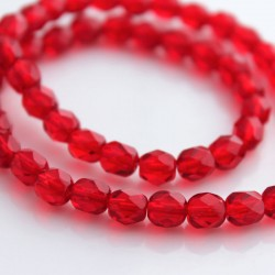 6mm Fire Polished Czech Glass Beads - Siam Red