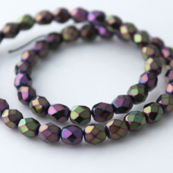6mm Fire Polished Czech Glass Beads - Purple Iris