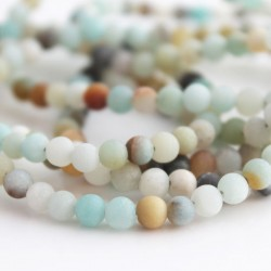 4mm Frosted Amazonite Round Beads - Mixed Colours