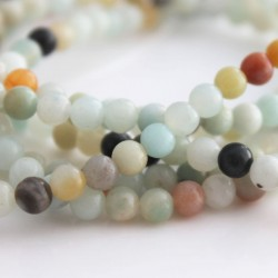 4.5mm Amazonite Round Beads - Mixed Colours