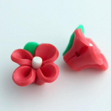 14mm Polymer Clay Beads - Red Rose